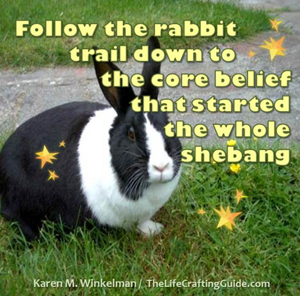 Black & White rabbit with text: Follow the rabbit trail down to the core belief