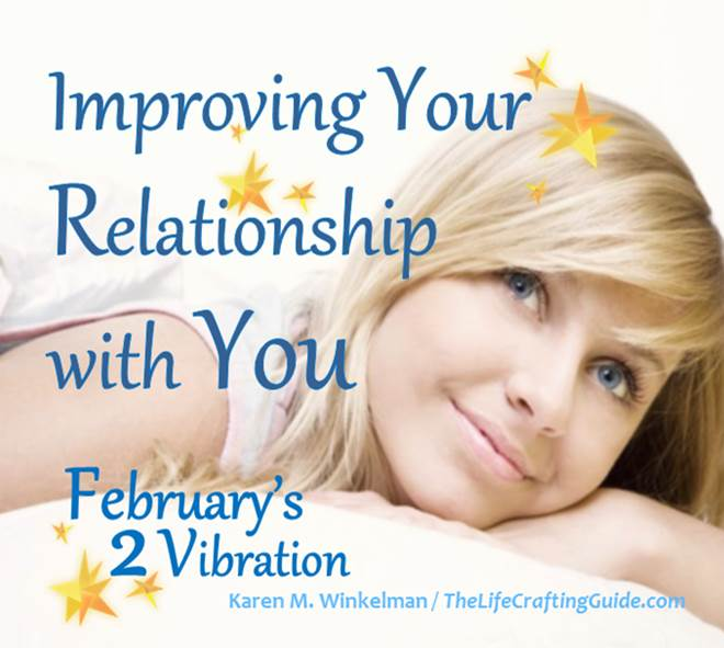 Picture of girl resting, pleasant smile; with the words 'Improving Your Relationship with You. February's 2 vibration