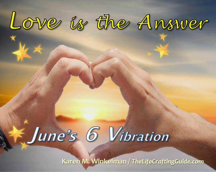 Sun with hands forming a heart. Love is the Answer. Jun's 6 vibration.