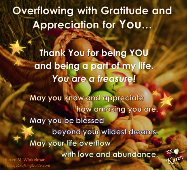 Cornucopia with gratitude and apprecaition message
