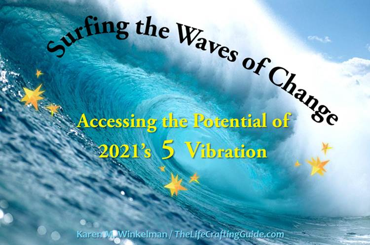 Picture of a wave with the words Surfing The Waves of Change, accessing the potential of 2015's 5 vibration