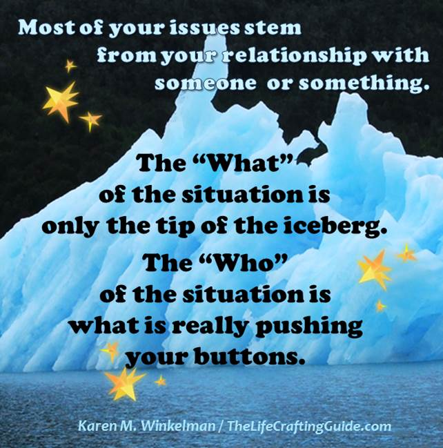 "ceberg with text: The ""What""   of situation is tip of iceberg. The who is what pushes your buttons"