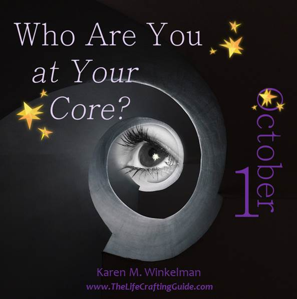 eye looking trhough a spiral with the words Who are you at your core?